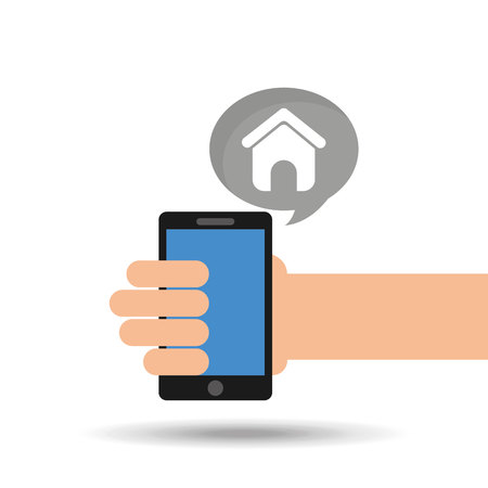 phoning: concept social media, hand holding smartphone web page vector illustration eps 10