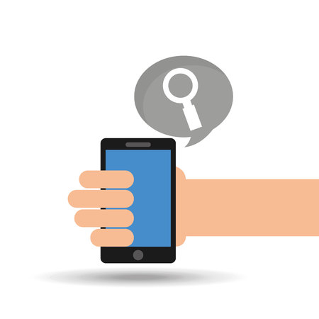 phoning: concept social media, hand holding smartphone search vector illustration eps 10