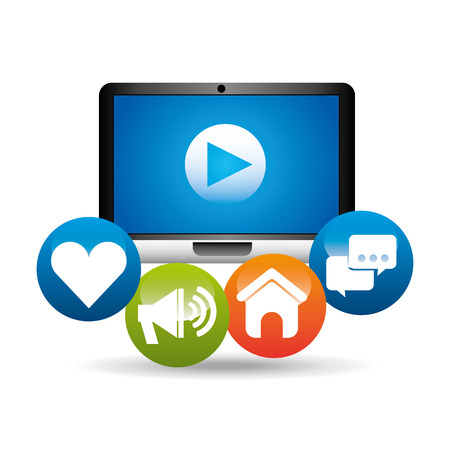 computer video play network media icons vector illustration eps 10