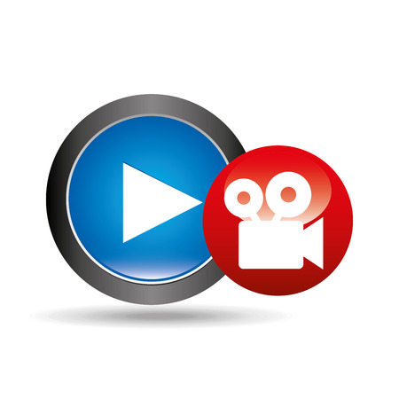 viewer: video player button film camera icon graphic vector illustration eps 10 Illustration