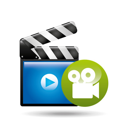 video player concept clapper and movie camera vector illustration eps 10