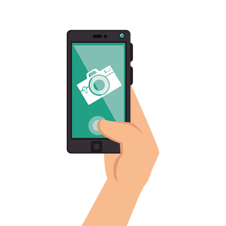 communicator: smartphone device with photographic app vector illustration design