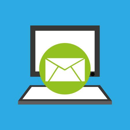 handphone: pc device network envelope mail media icon vector illustration eps 10