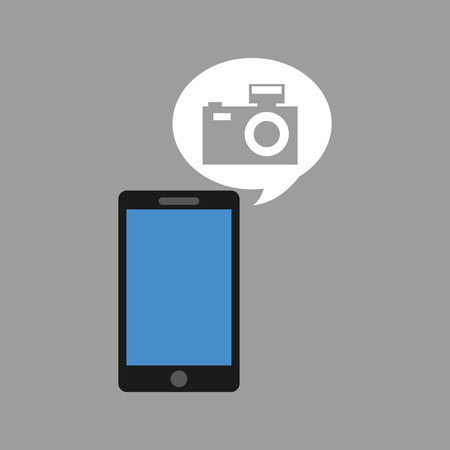 concept social media, hand holding smartphone camera photograpy vector illustration eps 10