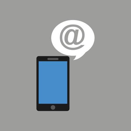 phoning: concept social media, hand holding smartphone mail vector illustration eps 10 Illustration