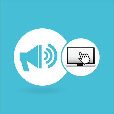laptop speaker and cursor hand design vector illustration eps 10