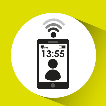 smartphone display character connection media design vector illustration Illustration