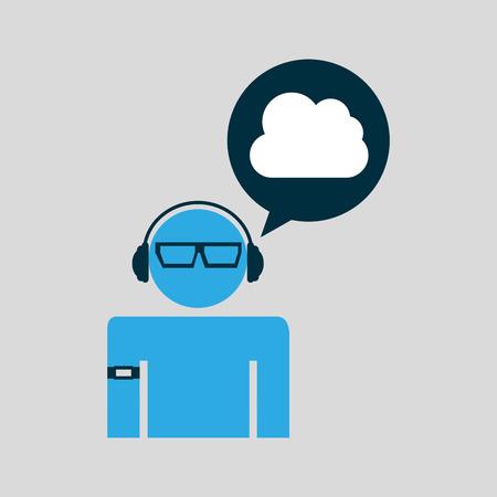 cloud man technology wearable vector illustration eps 10 Illustration