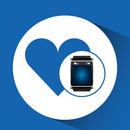 smart watch blue screen heart icon media vector illustration eps 10