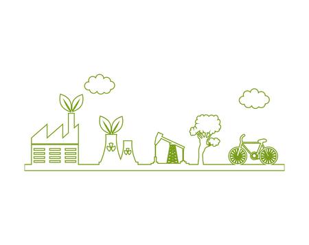 エネルギー代替のエコロジー シンボル ベクトル イラスト デザイン  イラスト・ベクター素材