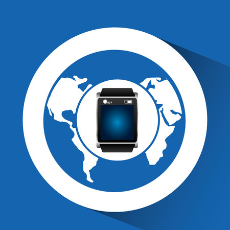 smart watch blue screen global icon media vector illustration eps 10