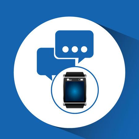 smart watch blue screen bubble speech icon media vector illustration eps 10