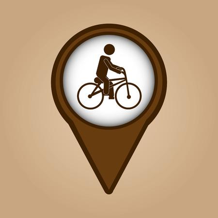 ridding: man ridding bike vintage icon vector illustration eps 10