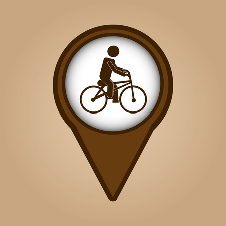 man ridding bike vintage icon vector illustration eps 10