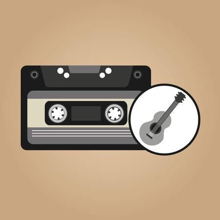cassette vintage guitar style hipster vector illustration eps 10 Vettoriali