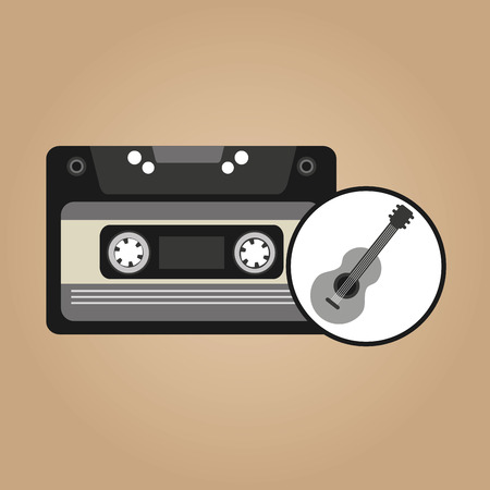 cassette vintage guitar style hipster vector illustration eps 10 Stock Illustratie