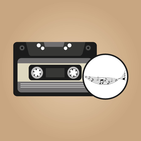 disk jockey: music cassette vintage background desgin vector illustration eps 10