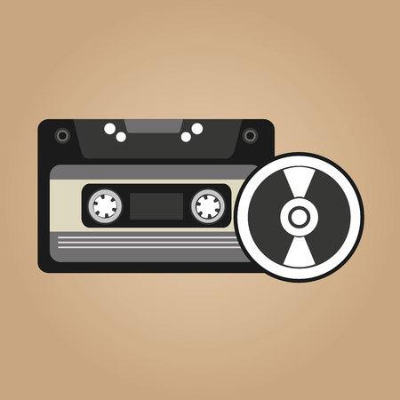vynil: cassette vynil disk retro vector illustration eps 10 Illustration