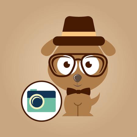 hipster dog symbol camera design vintage background vector illustration Illustration