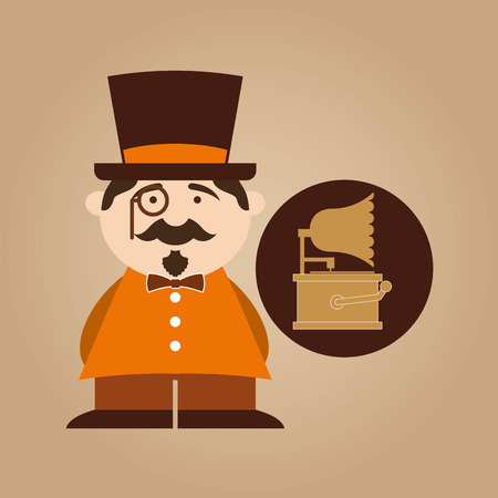 oldies: man hipster gramophone vintage icon vector illustration