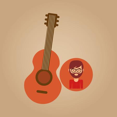 guitar retro music hipster man vector illustration Illustration