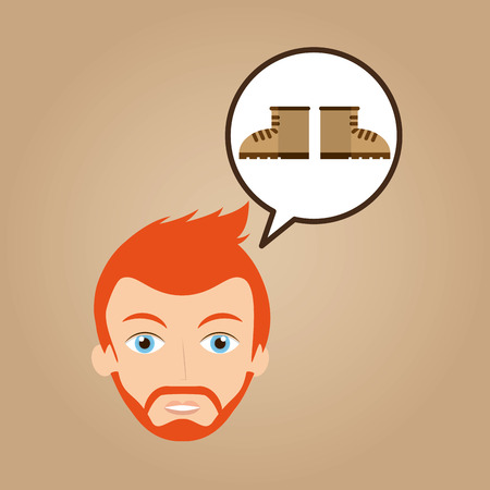 face man bearded clothes boots hipster vector