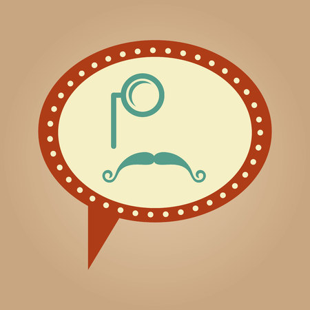 crafty: symbol hipster monocle and long moustache vector