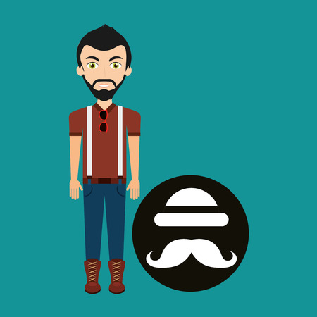 bowler hat: young hipster man bowler hat and mustache vector illustration