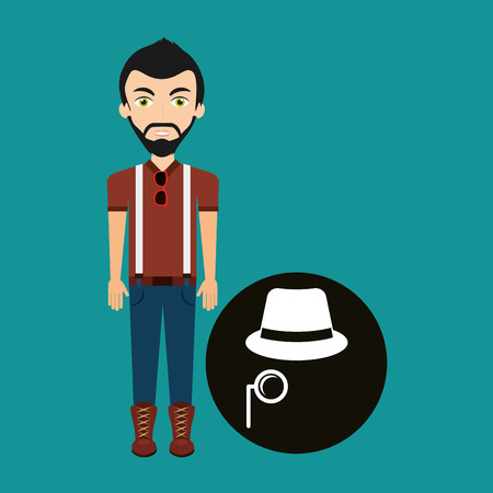 black man thinking: young hipster man fedora hat and mustache vector