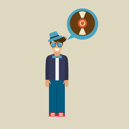 vynil: hipster vinyl disk vintage background icon vector Illustration
