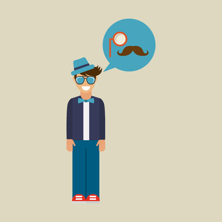 hipster character monocle and mustache vintage icon Illustration