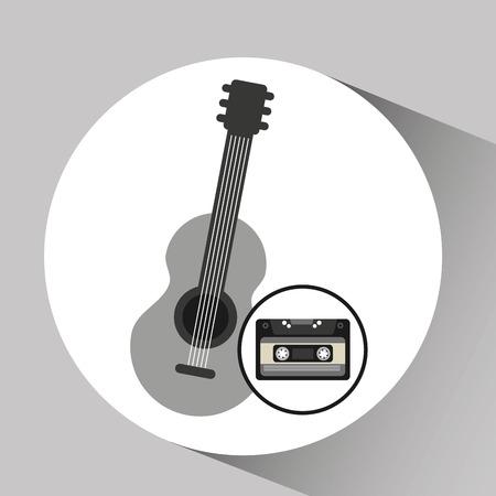 cassette vintage gitaar stijl hipster Stock Illustratie