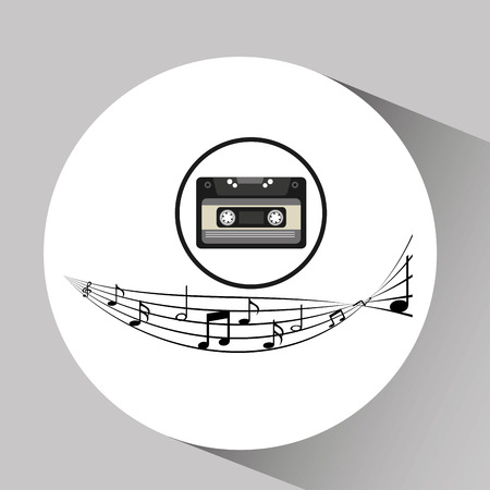 disk jockey: music cassette vintage background Illustration