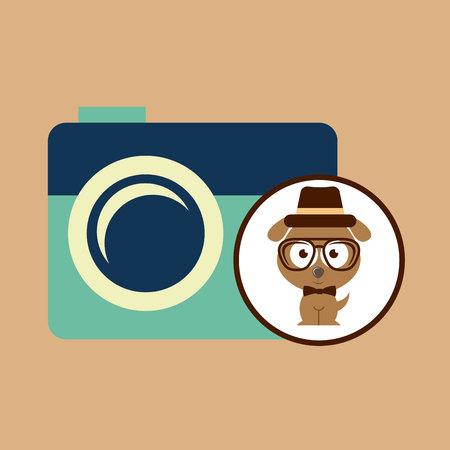 snickers: hipster dog symbol camera design vintage background vector illustration Illustration