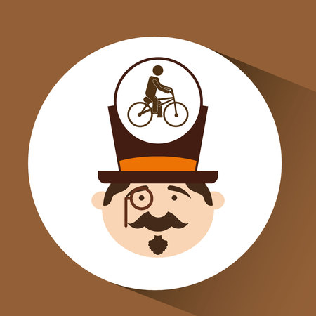 ridding: man hipster ridding bike icon design vector