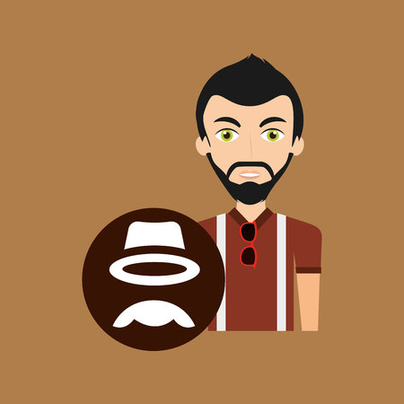 hipster style character hat moustache vintage icon vector illustration Illustration