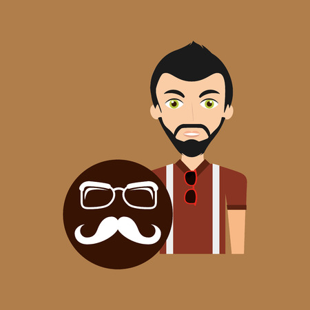 young hipster man long moustache and glasses vector illustration Illustration