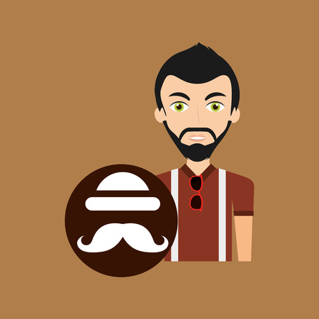 bowler hat: young hipster man bowler hat and moustache vector illustration