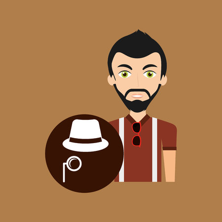 eyes looking down: young hipster man fedora hat and moustache vector illustration
