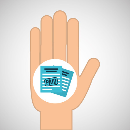 paid: hand concept save money paid vector illustration Illustration