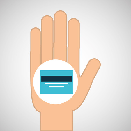 hand concept save credit card money vector