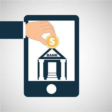 subprime: concept saving money bank building vector illustration Illustration