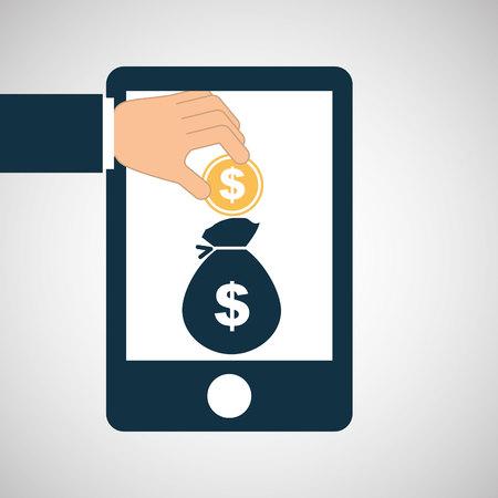billfold: hand save bag money icon vector illustration Illustration