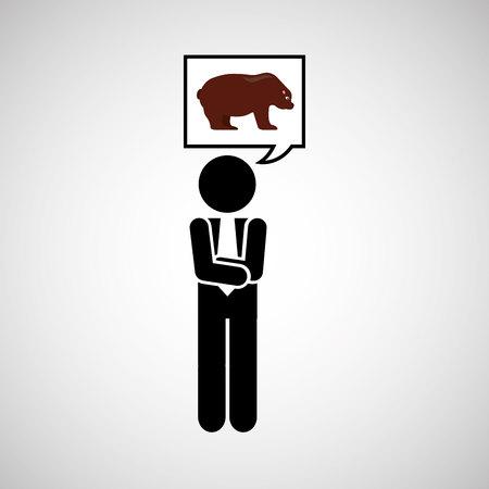 bullish market: concept stock exchange market bear sell icon vector illustration