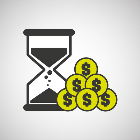 sand clock money coin icon design vector illustration