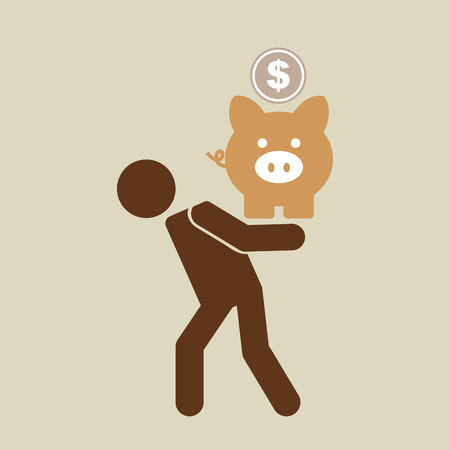 silhouette man financial crisis piggy coin vector illustration