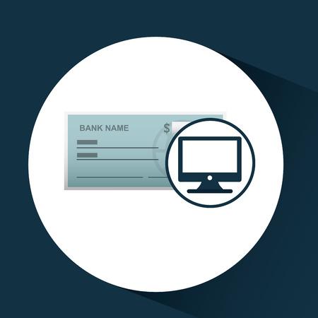 Cheque bancario icono de plantilla ejemplo gráfico del vector Foto de archivo - 68042592