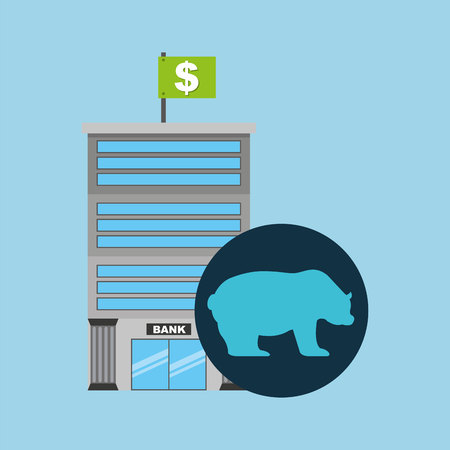 stock quotes: bank building finance bear sell vector illustration