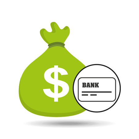 shopping chart: sack money with card credit and debit bank vector illustration