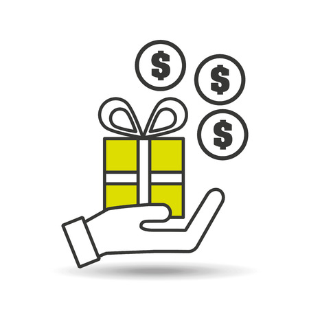hand holding gift money coin icon vector illustration